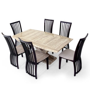 Italian Art Marble Six Seater Dining Set